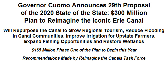 Governor Cuomo Announces 29th Proposal of the 2020 State of the State: $300 Million Plan to Reimagine the Iconic Erie Canal